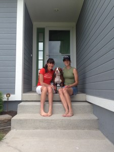 Columbiana, now Noodle, with her new mom and her foster mom.